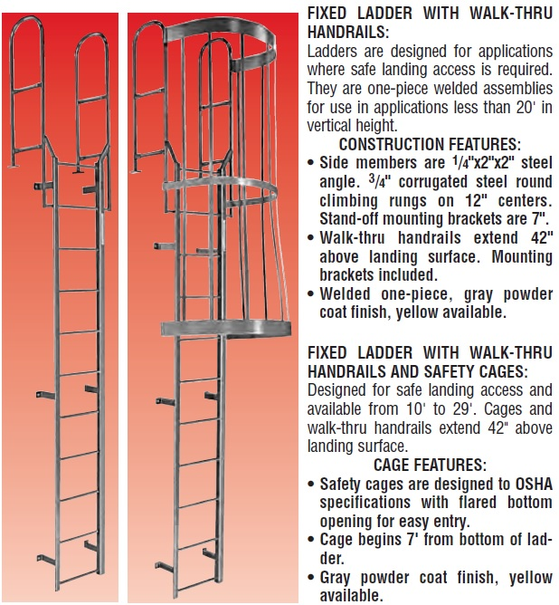 Fixed Roof Ladders Fixed Caged Ladders Fixed Ladders